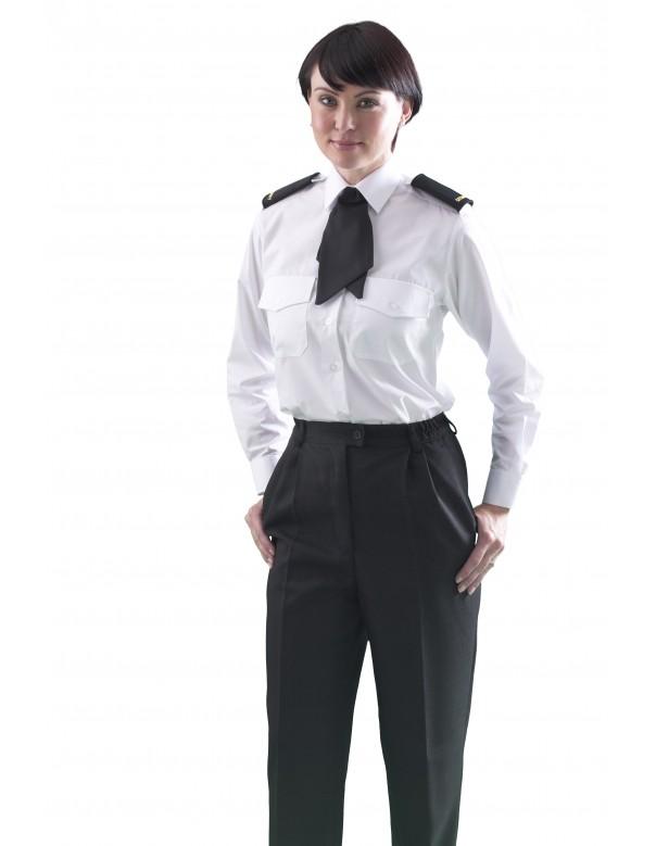 ladies long sleeve white pilot shirt