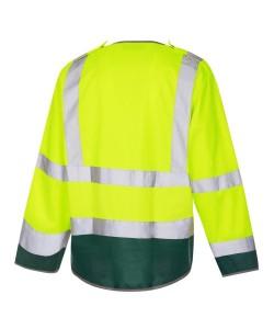 Yellow Hi Vis EN471 Class 3 long sleeve jerkin with green trim and retromax reflective tape