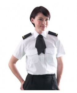 women's short sleeve white pilot shirt